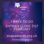 ASAP AWARDS:  Only 1 week left to enter