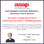 "ASAP Webinar Series: ""An energy boost for you! Tips and ideas for managing your wellbeing in these working from home days."" with Jo Redman"